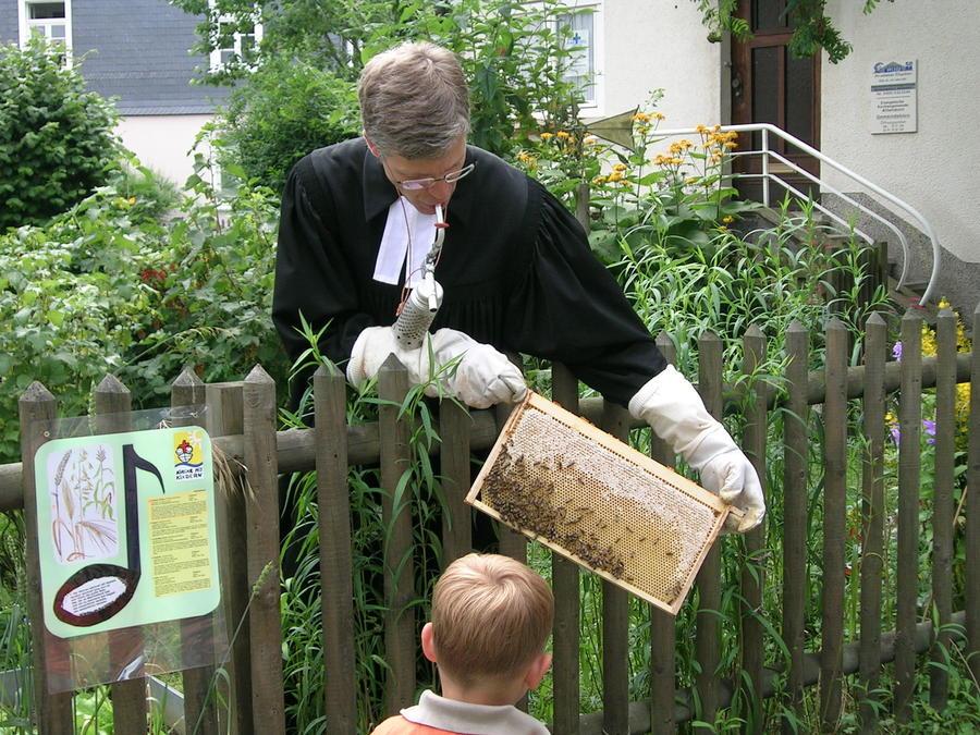 Ein Imker zeigt Kindern das Imkern