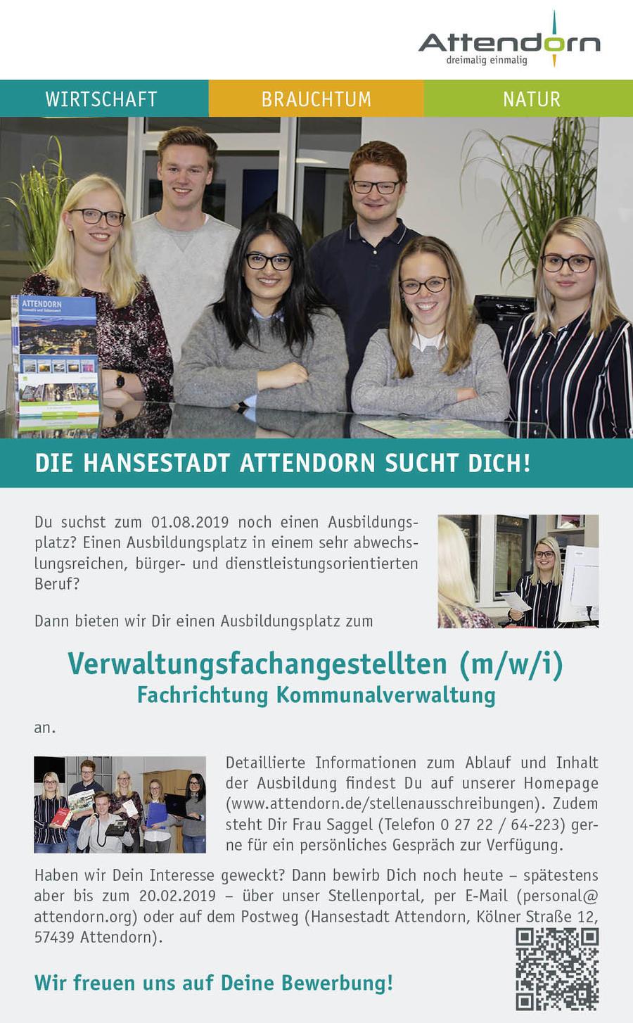 Die Hansestadt Attendorn bietet zum 1. August 2019 einen Ausbildungsplatz zum Verwaltungsfachangestellten (m/w/i) - Fachrichtung Kommunalverwaltung - an.