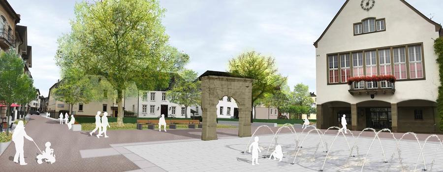 Bild vergrößern: Visualisierung von Klosterplatz und Rathausplatz in Attendorn